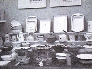 1945 Manufacture of enamel ironware for household use has begun.
